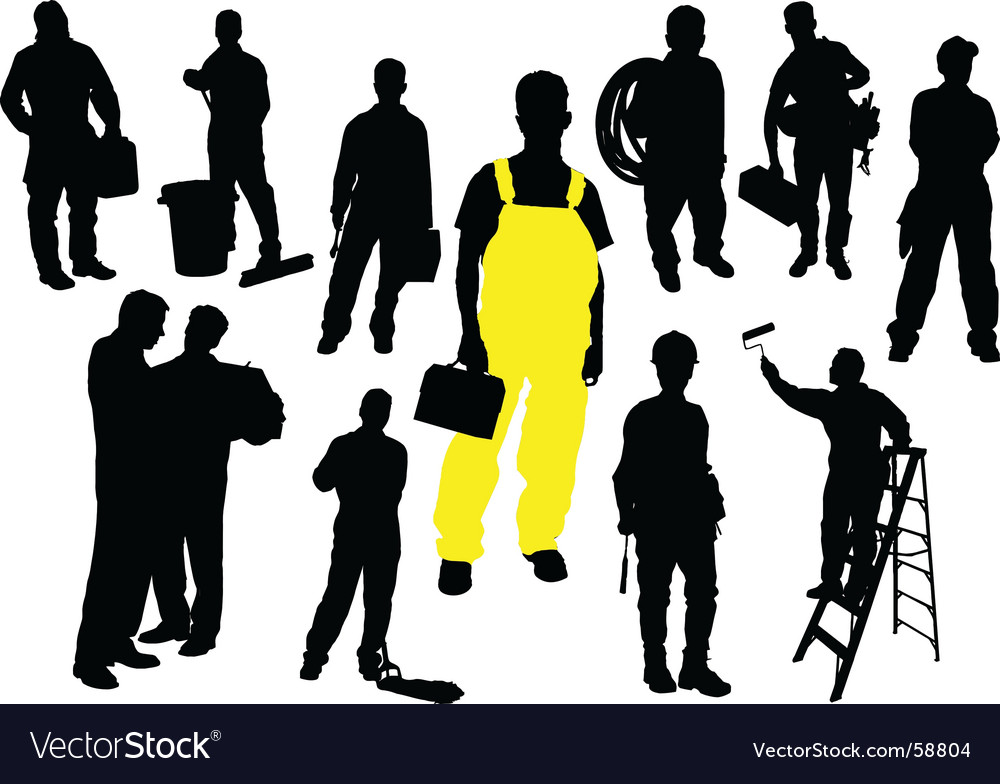 Twelve workers vector | Price: 1 Credit (USD $1)