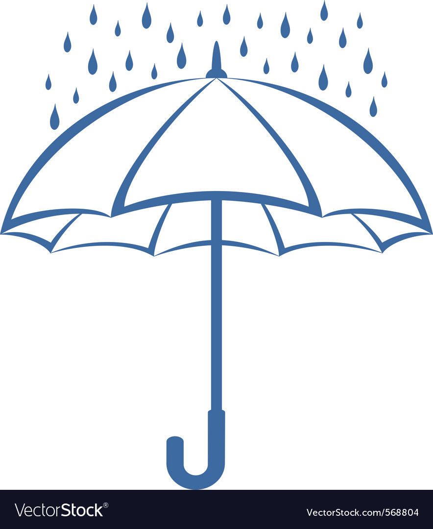 Umbrella and rain vector | Price: 1 Credit (USD $1)
