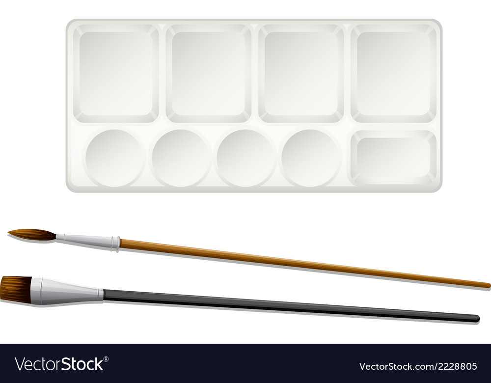 A topview of the paintbrushes and an ink tray vector | Price: 1 Credit (USD $1)
