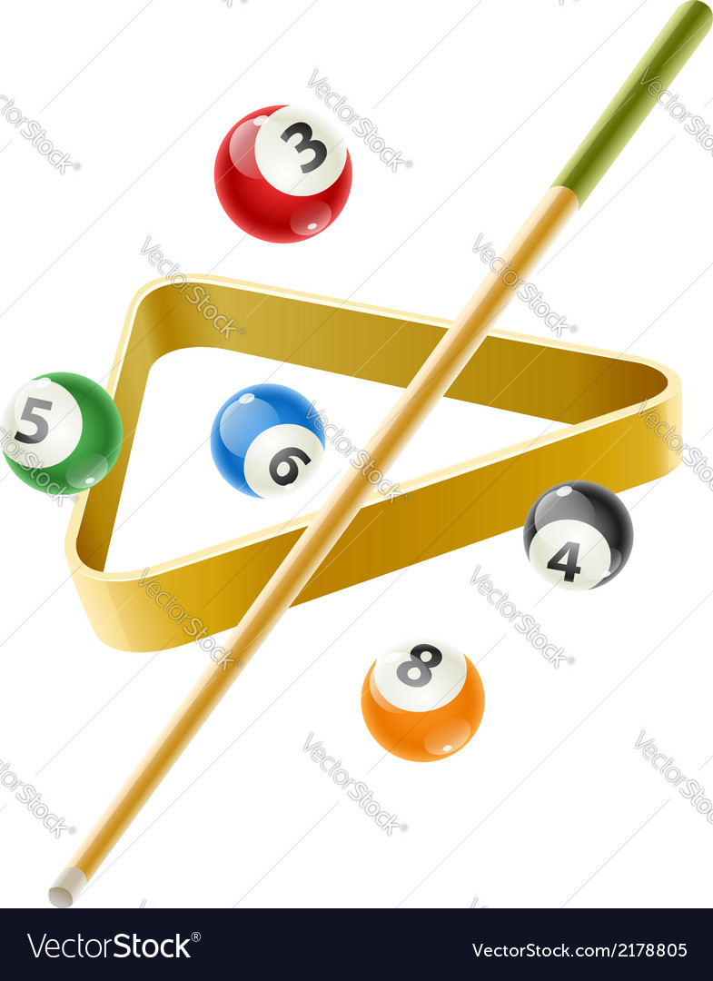 Ball and cue for billiard game vector | Price: 1 Credit (USD $1)