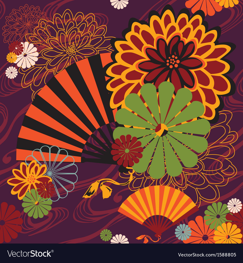 Bright seamless japanese subjects vector | Price: 1 Credit (USD $1)