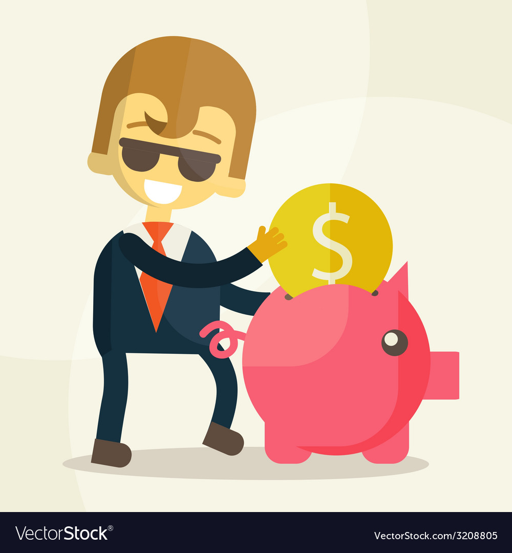 Businessman putting coin into piggy bank vector | Price: 1 Credit (USD $1)