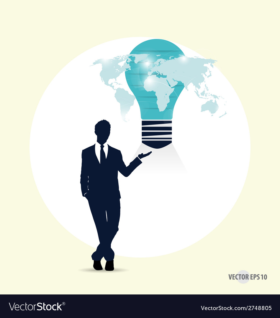 Businessman with light bulb on his hand concept vector | Price: 1 Credit (USD $1)