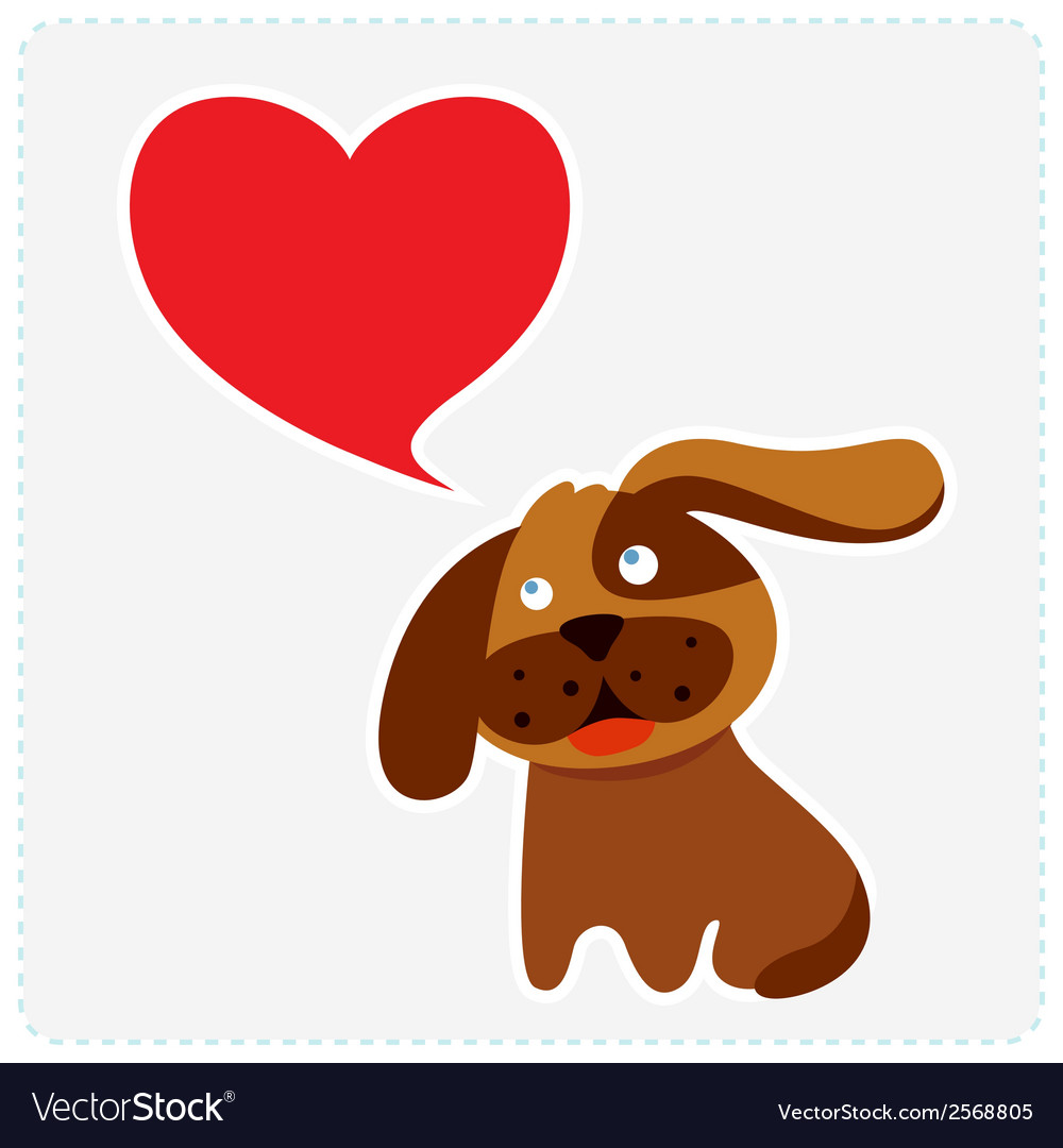 Cute dog with heart shape speech bubble vector | Price: 1 Credit (USD $1)