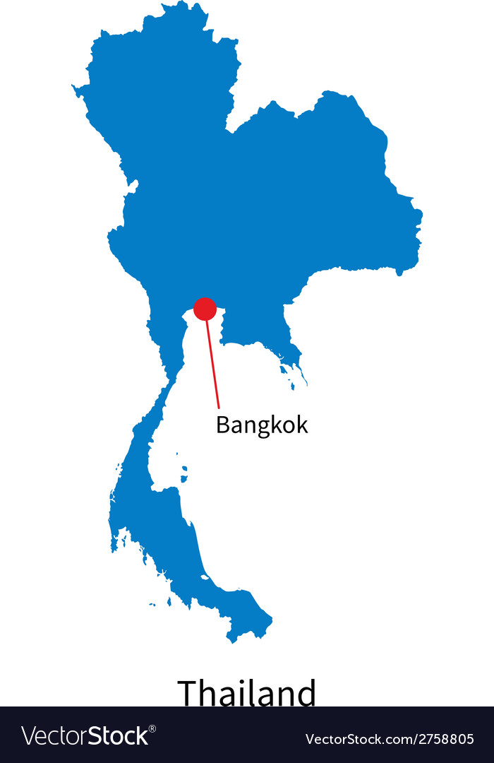 Detailed map of thailand and capital city bangkok vector | Price: 1 Credit (USD $1)