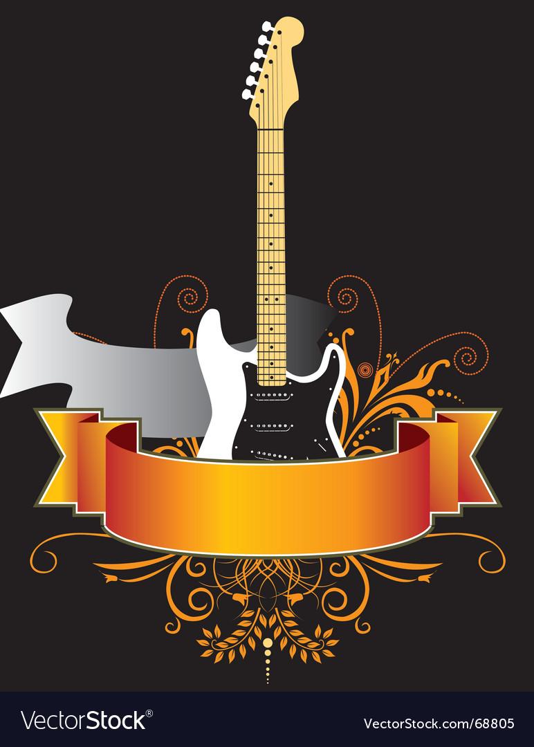 Floral guitar banner vector   Price: 1 Credit (USD $1)
