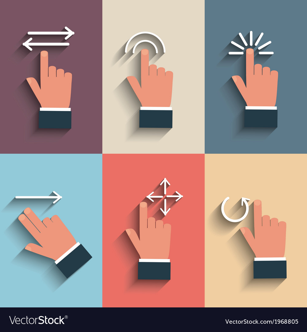 Gesture icons for touch devices vector | Price: 1 Credit (USD $1)