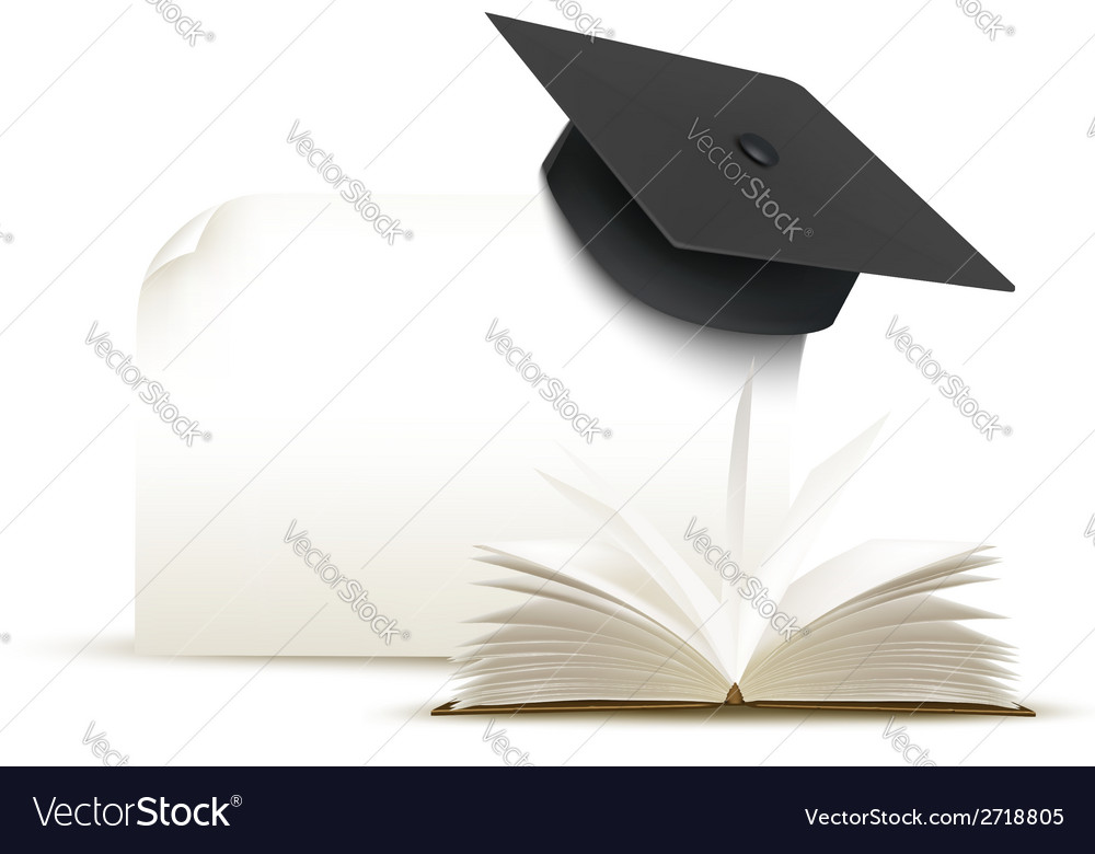 Graduation cap on white background with a book vector | Price: 1 Credit (USD $1)