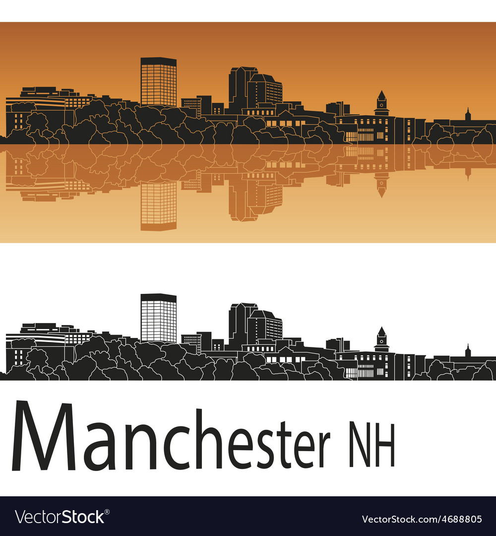 Manchester skyline in orange vector | Price: 1 Credit (USD $1)
