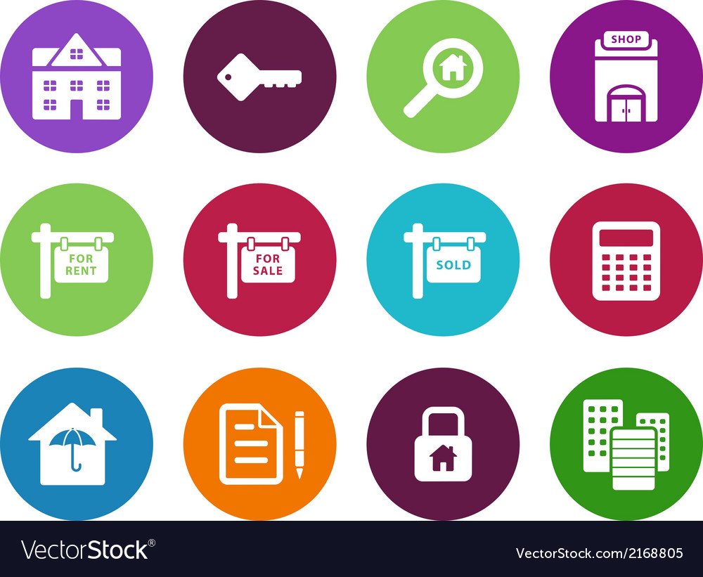 Real estate circle icons on white background vector | Price: 1 Credit (USD $1)