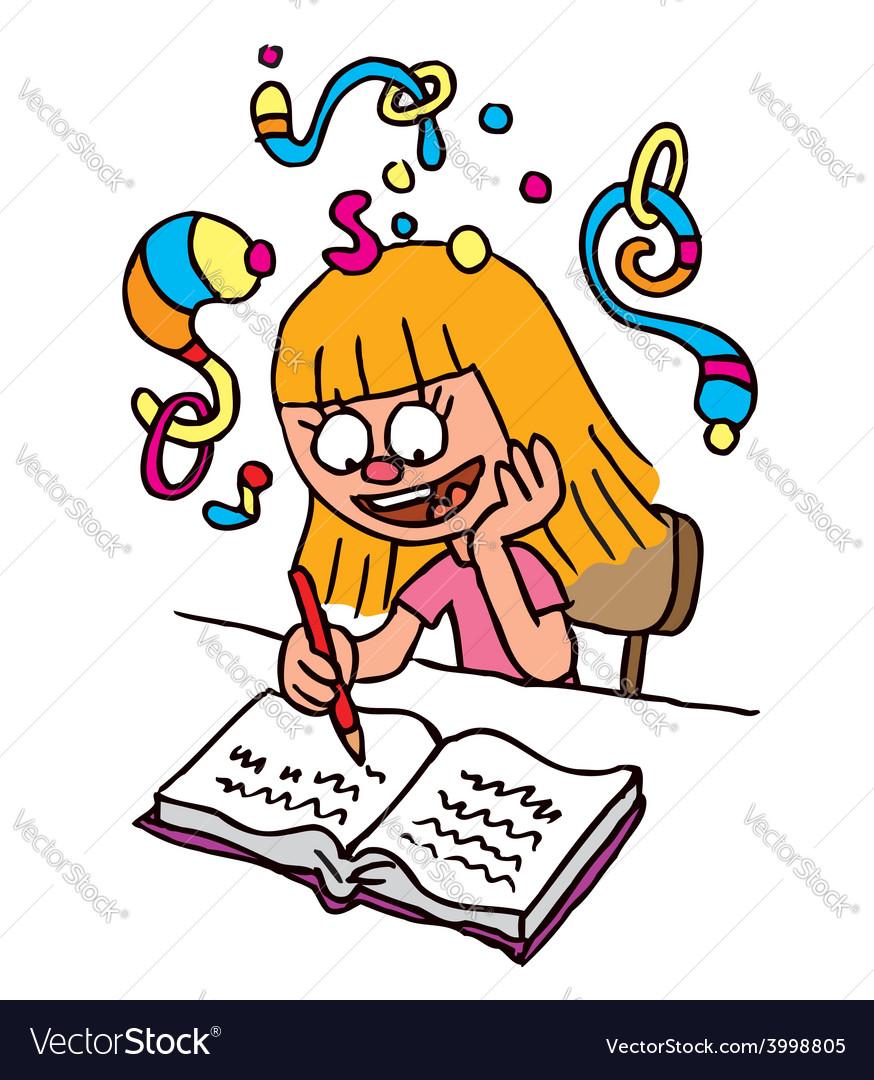 School girl homework imagination vector   Price: 1 Credit (USD $1)