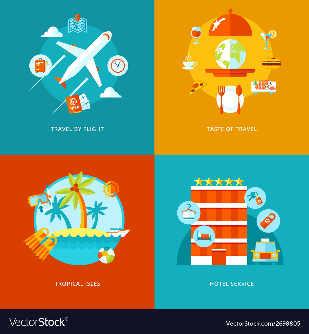 Travel and tourism icons set vector | Price: 1 Credit (USD $1)