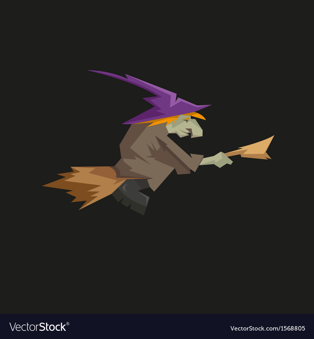 Witch on a broomstick isolated on a black vector | Price: 1 Credit (USD $1)