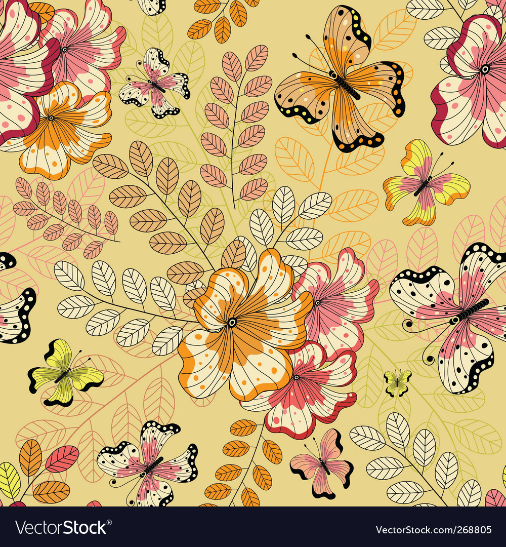 Yellow seamless floral pattern vector | Price: 1 Credit (USD $1)