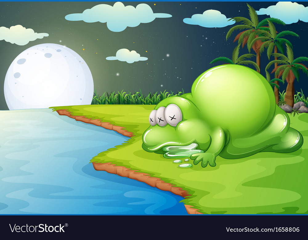 A monster sleeping near the river vector | Price: 3 Credit (USD $3)