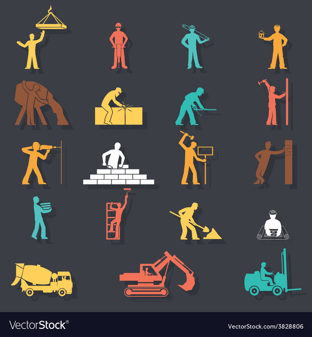 Builders construction workers with tools and vector | Price: 1 Credit (USD $1)