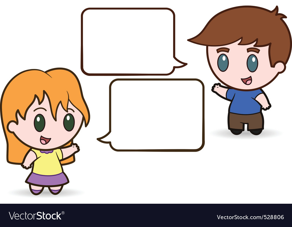 Children talking vector | Price: 1 Credit (USD $1)