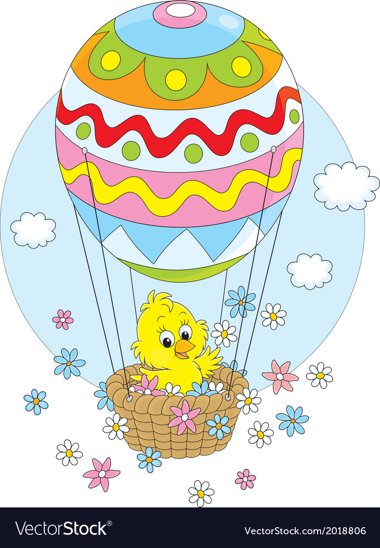 Easter chick flying in a balloon vector | Price: 1 Credit (USD $1)