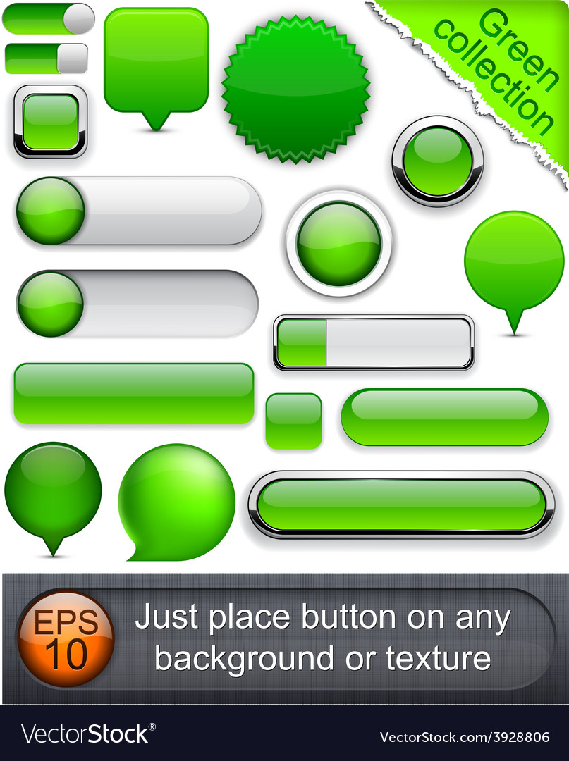 Green high-detailed modern buttons vector | Price: 1 Credit (USD $1)