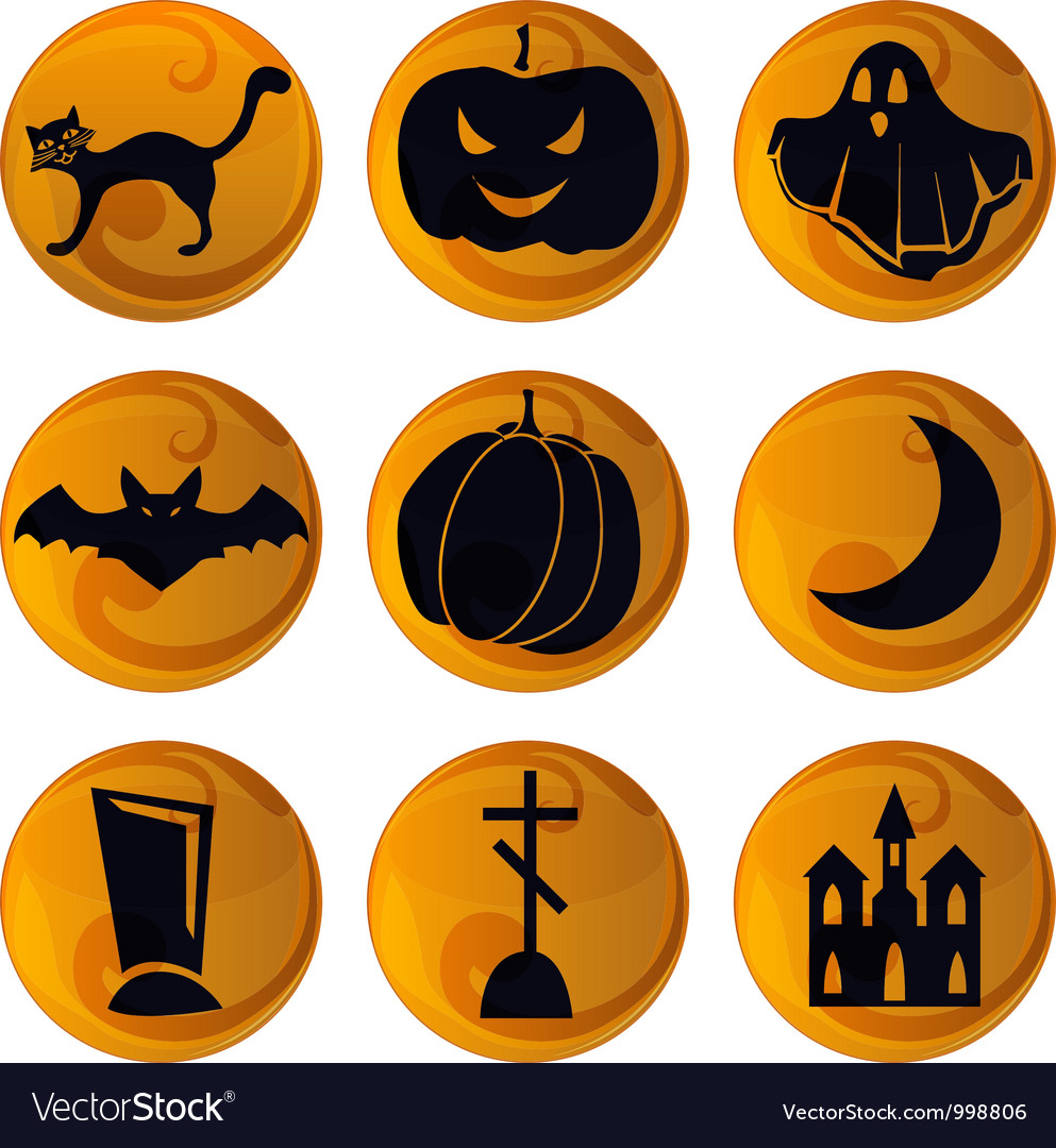 Halloween icons on orange vector | Price: 1 Credit (USD $1)