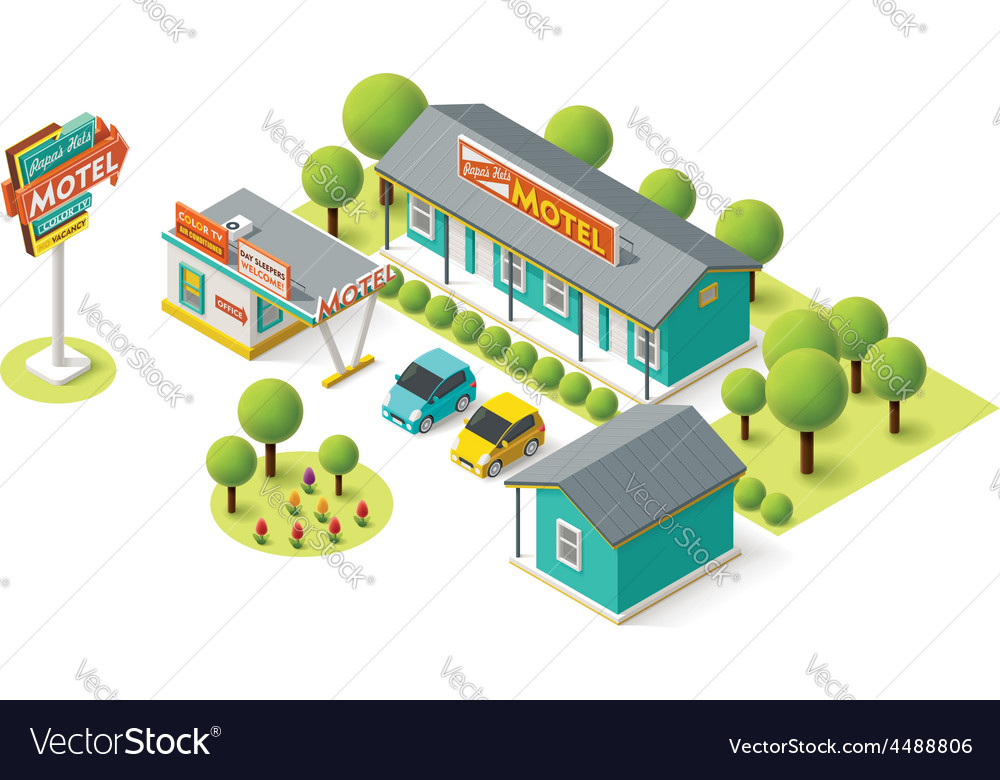 Isometric motel vector | Price: 3 Credit (USD $3)
