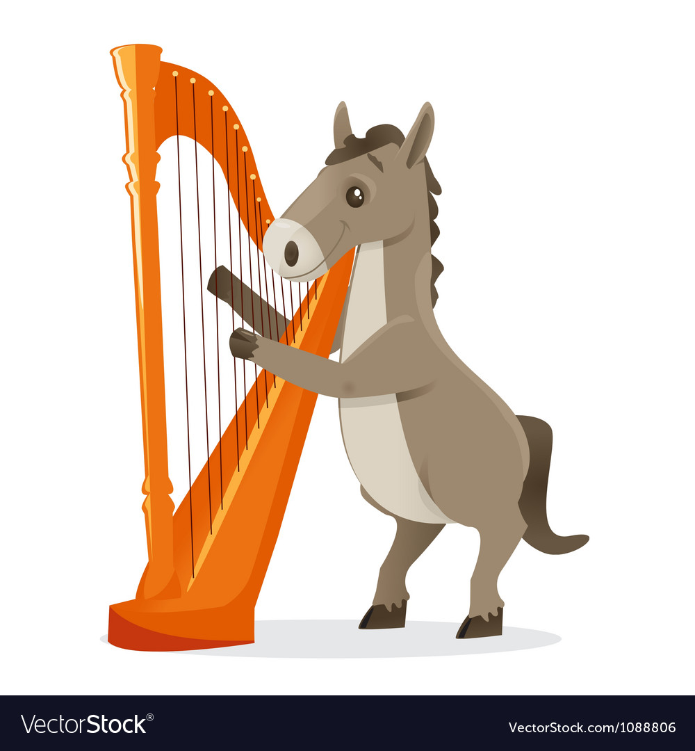 Musical animals horse harp vector | Price: 1 Credit (USD $1)