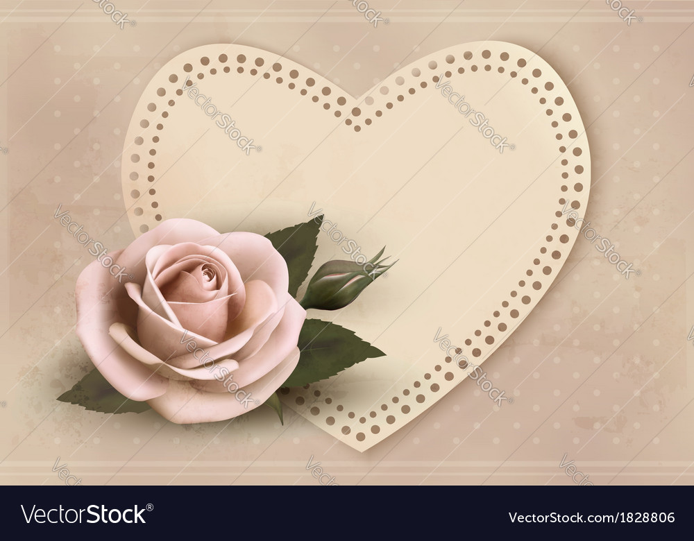 Retro greeting card with pink rose and heart vector | Price: 1 Credit (USD $1)