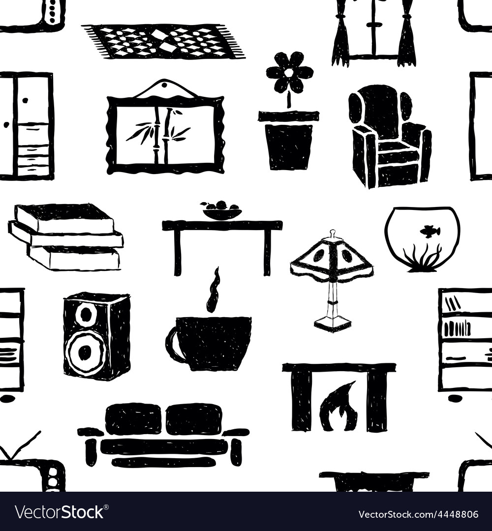 Seamless doodle living room pattern vector | Price: 1 Credit (USD $1)