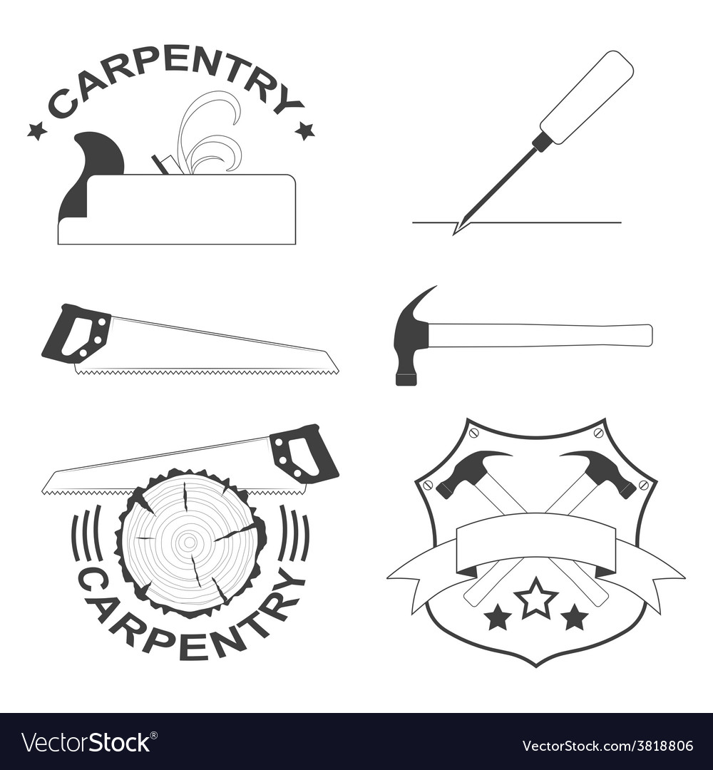 Set of carpentry tools and logos vector | Price: 1 Credit (USD $1)