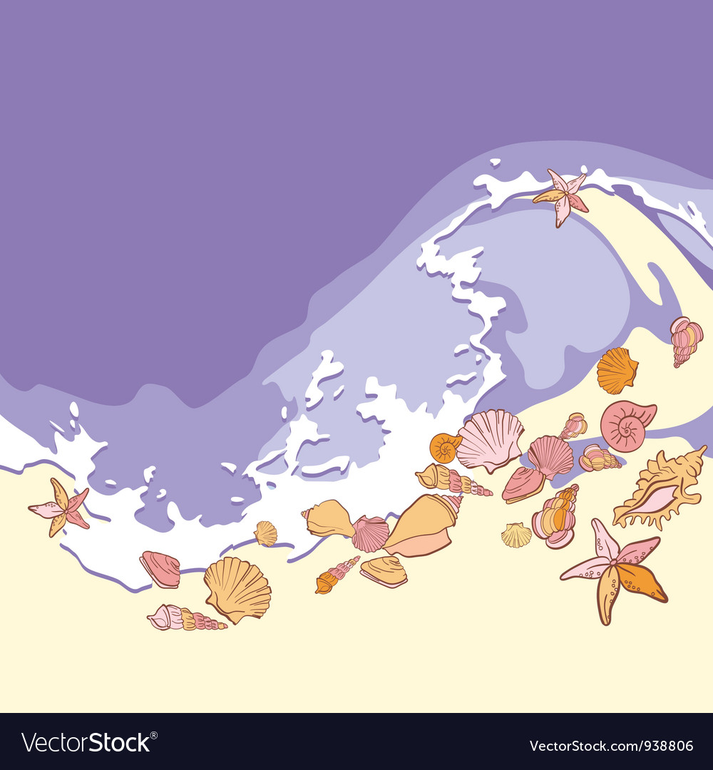 Shells and starfishes on sand background vector | Price: 1 Credit (USD $1)