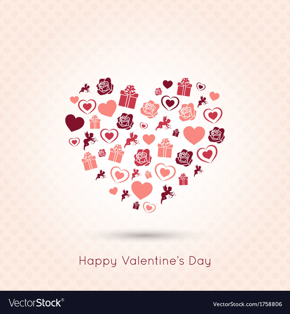 Valentines day heart seamless design background vector | Price: 1 Credit (USD $1)
