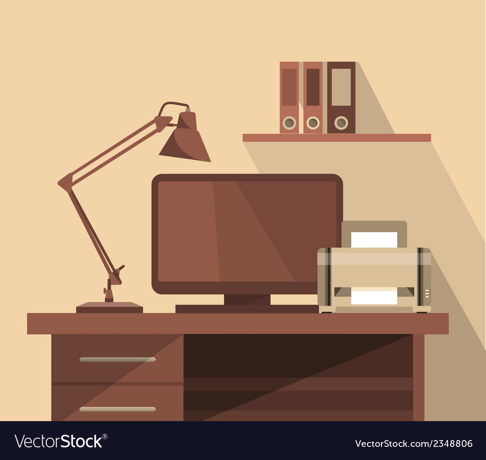 Workspace office vector | Price: 1 Credit (USD $1)