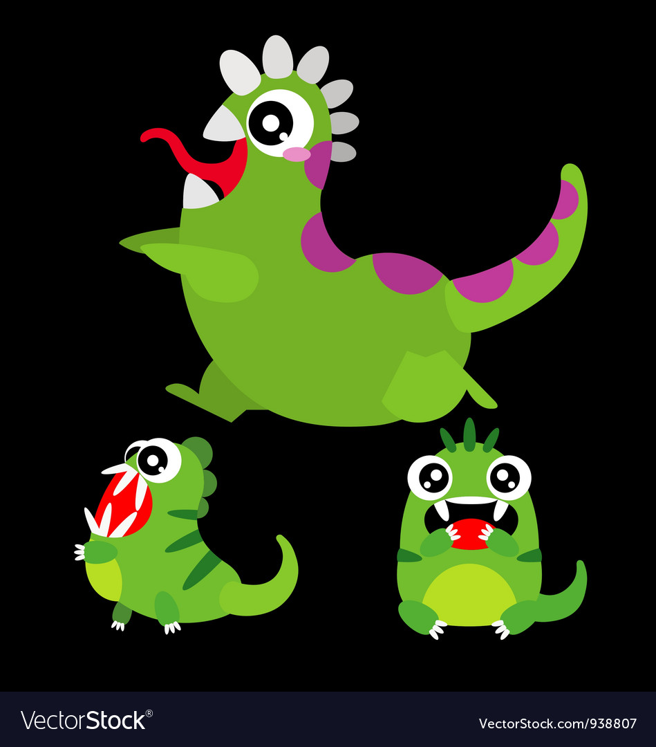 A set of cute cartoon monsters vector | Price: 3 Credit (USD $3)