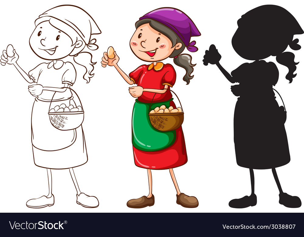 A sketch of a female vendor in different colors vector | Price: 1 Credit (USD $1)