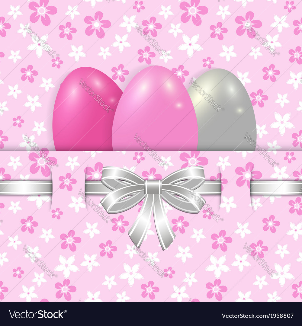 Easter card template with bow pink vector | Price: 1 Credit (USD $1)