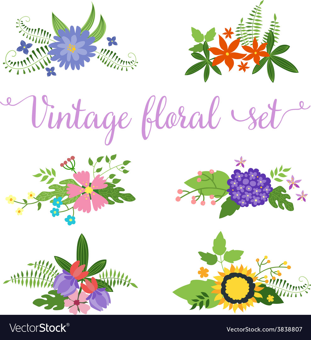 Flowers design set of floral icon vector | Price: 1 Credit (USD $1)