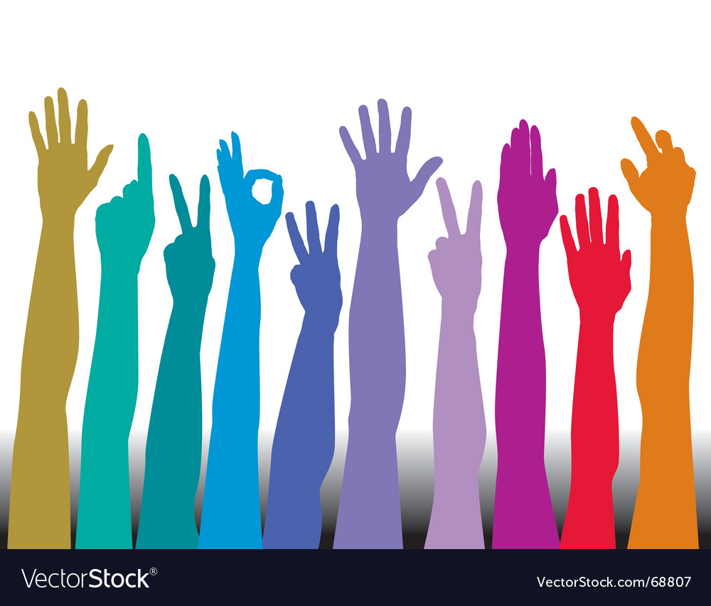 Hands of all races rainbow vector | Price: 1 Credit (USD $1)