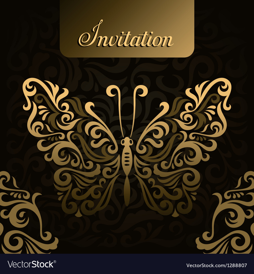Invitation with golden butterfly vector | Price: 1 Credit (USD $1)