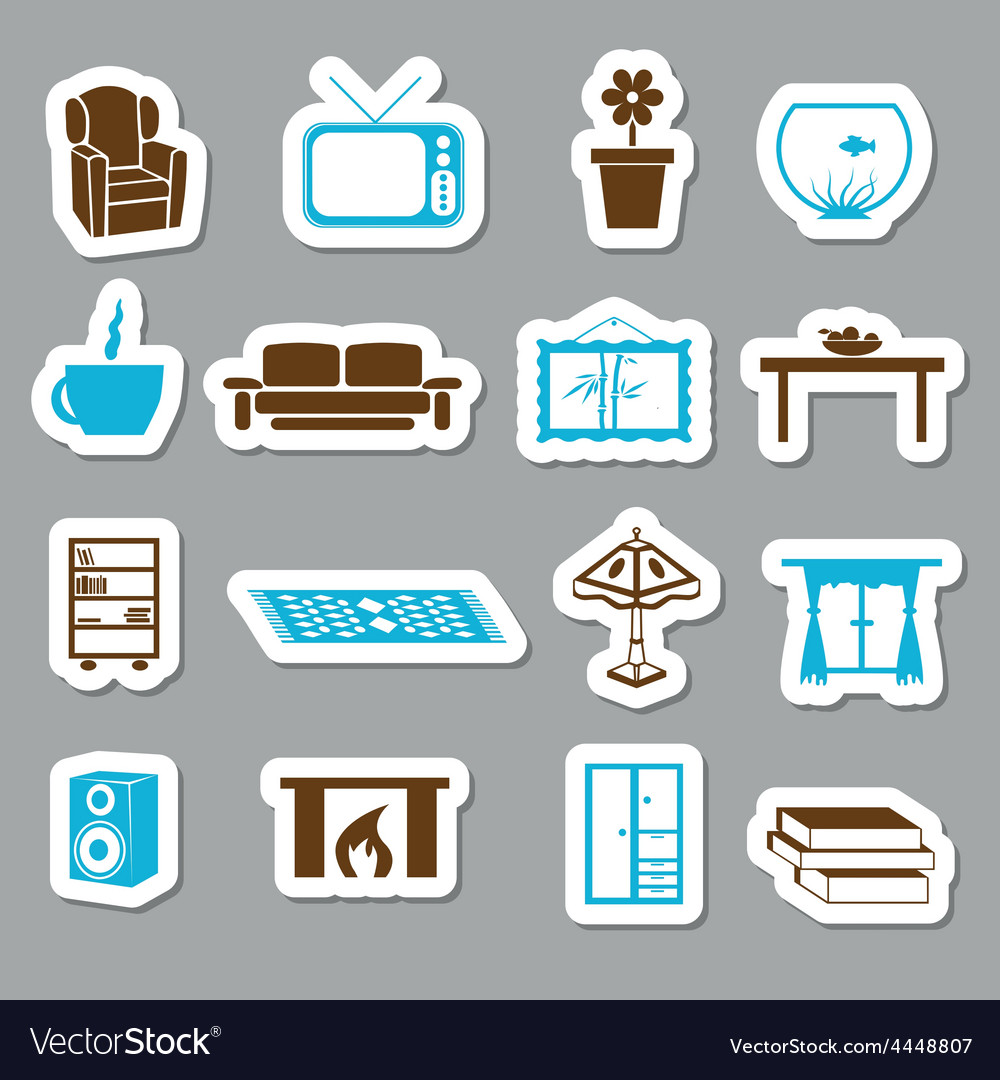 Living room stickers vector | Price: 1 Credit (USD $1)