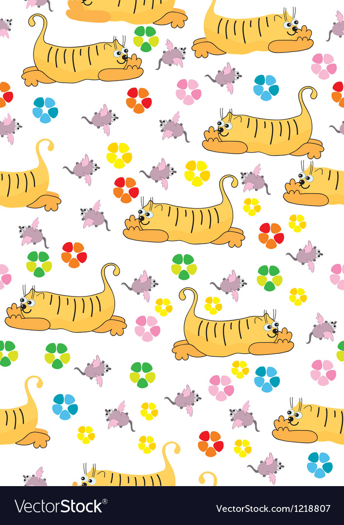 Seamless background with orange cat and pink mouse vector | Price: 1 Credit (USD $1)