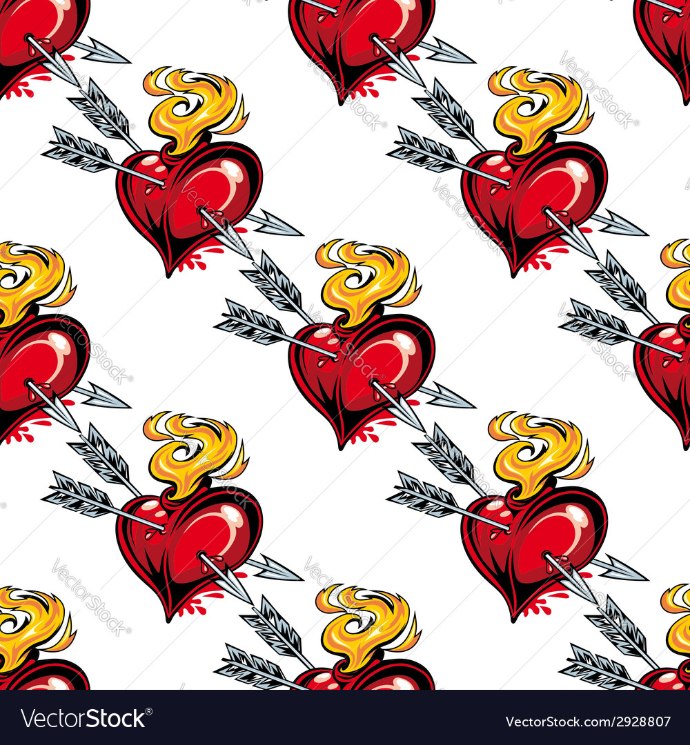Seamless pattern of valentine hearts and arrows vector | Price: 1 Credit (USD $1)