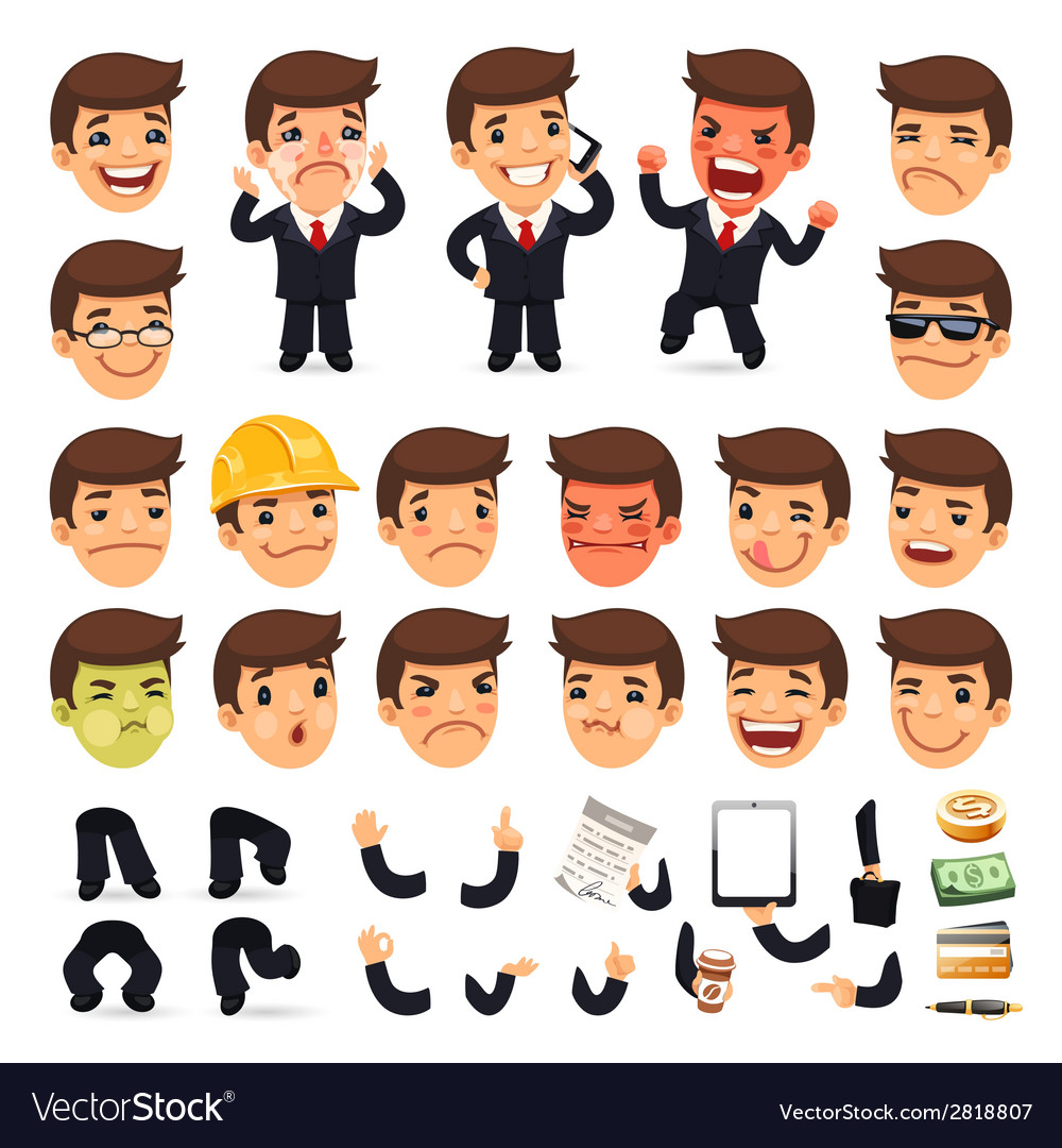 Set of cartoon businessman character for your vector | Price: 1 Credit (USD $1)