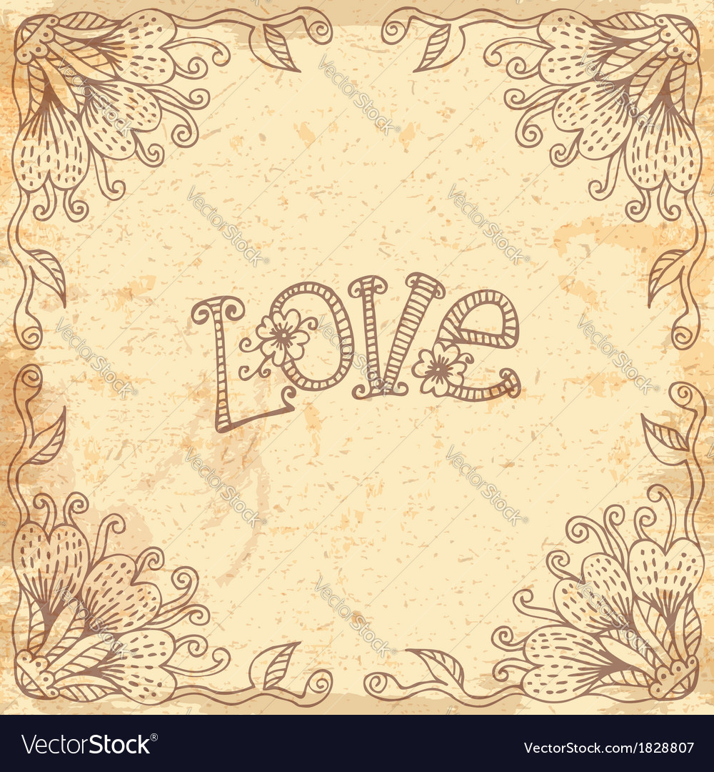 Vintage valentines day card with a floral frame vector | Price: 1 Credit (USD $1)