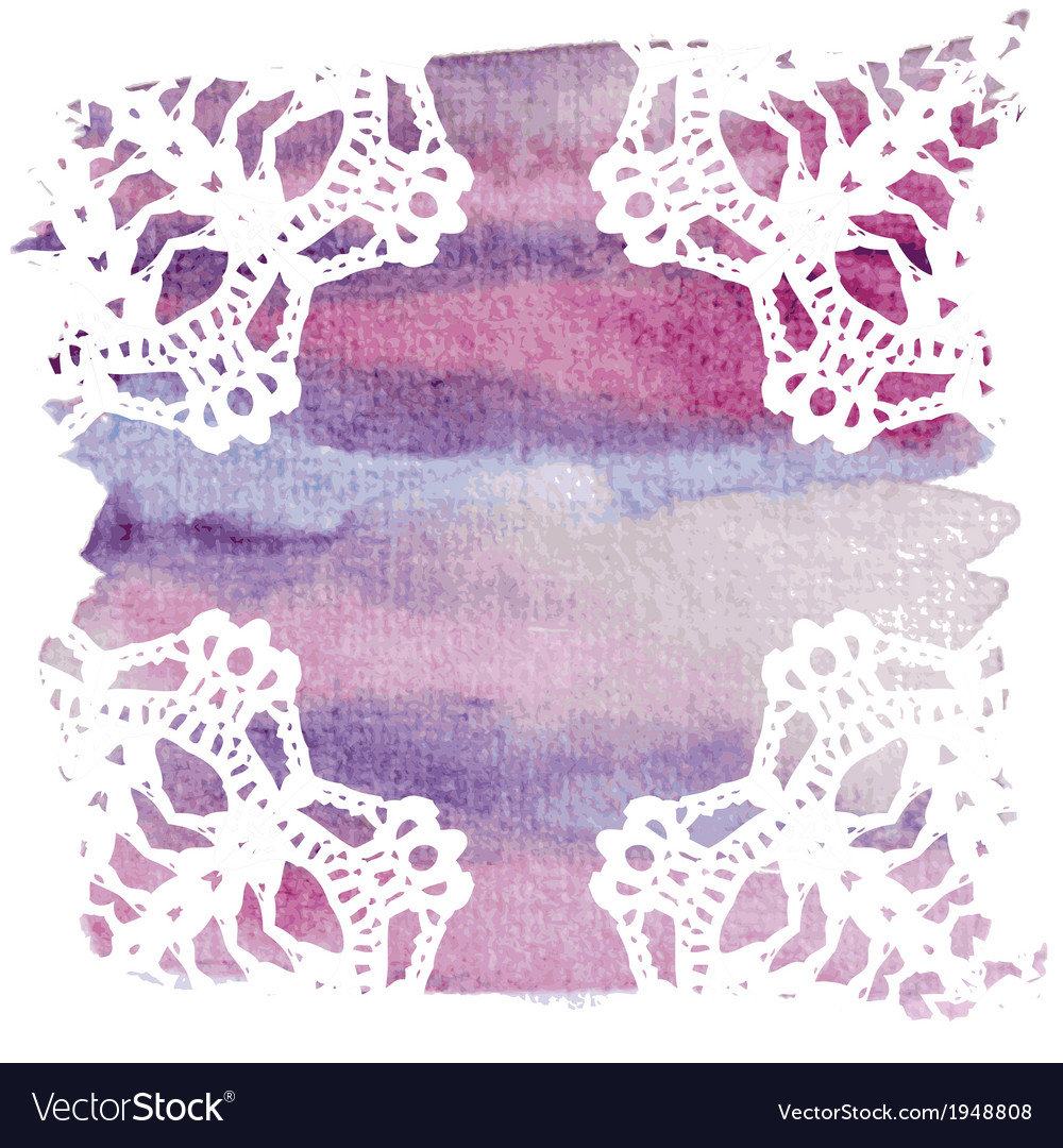Elegant doily on watercolor background vector | Price: 1 Credit (USD $1)