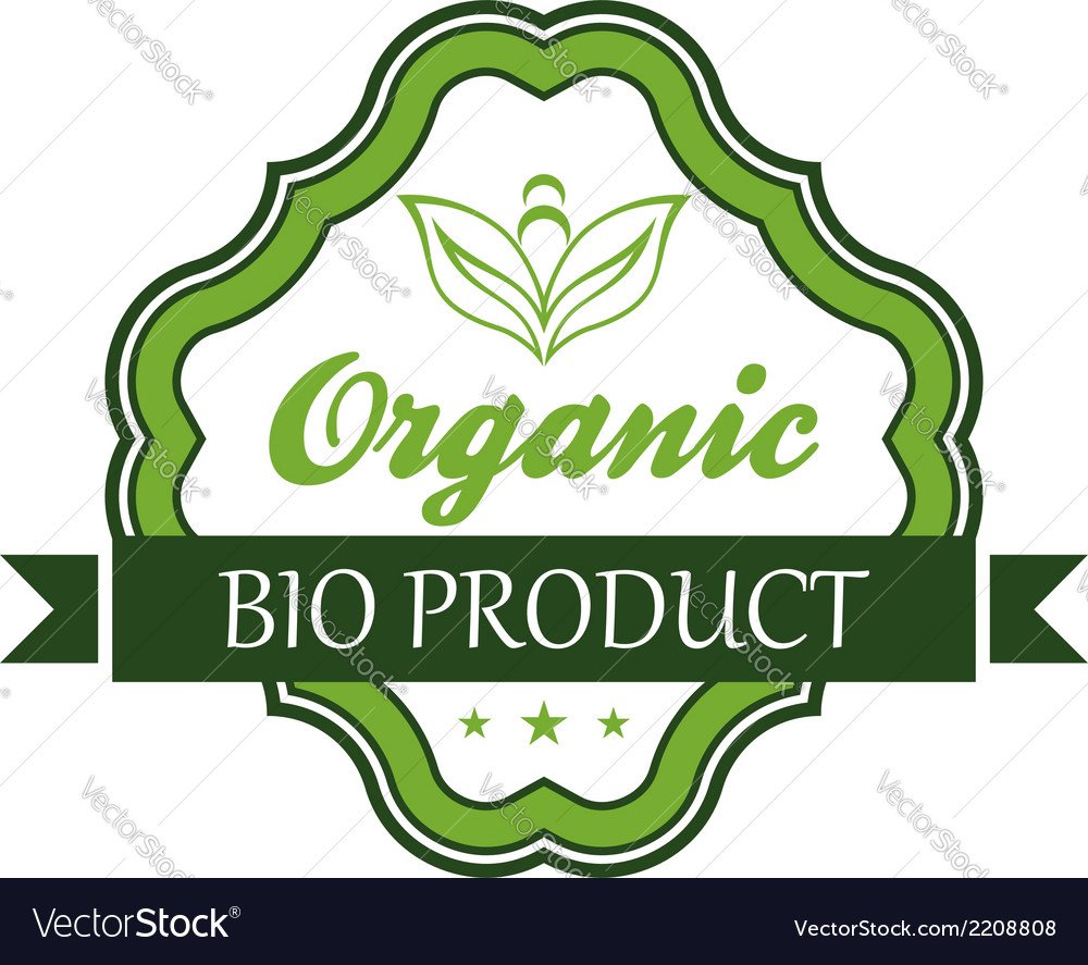 Organic bio product emblem or label vector | Price: 1 Credit (USD $1)