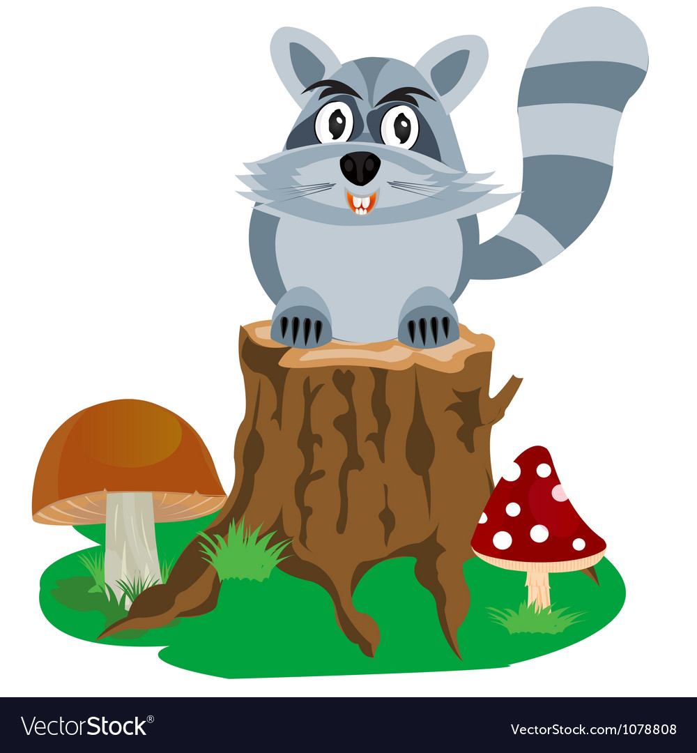 Racoon on hemp tree vector | Price: 1 Credit (USD $1)
