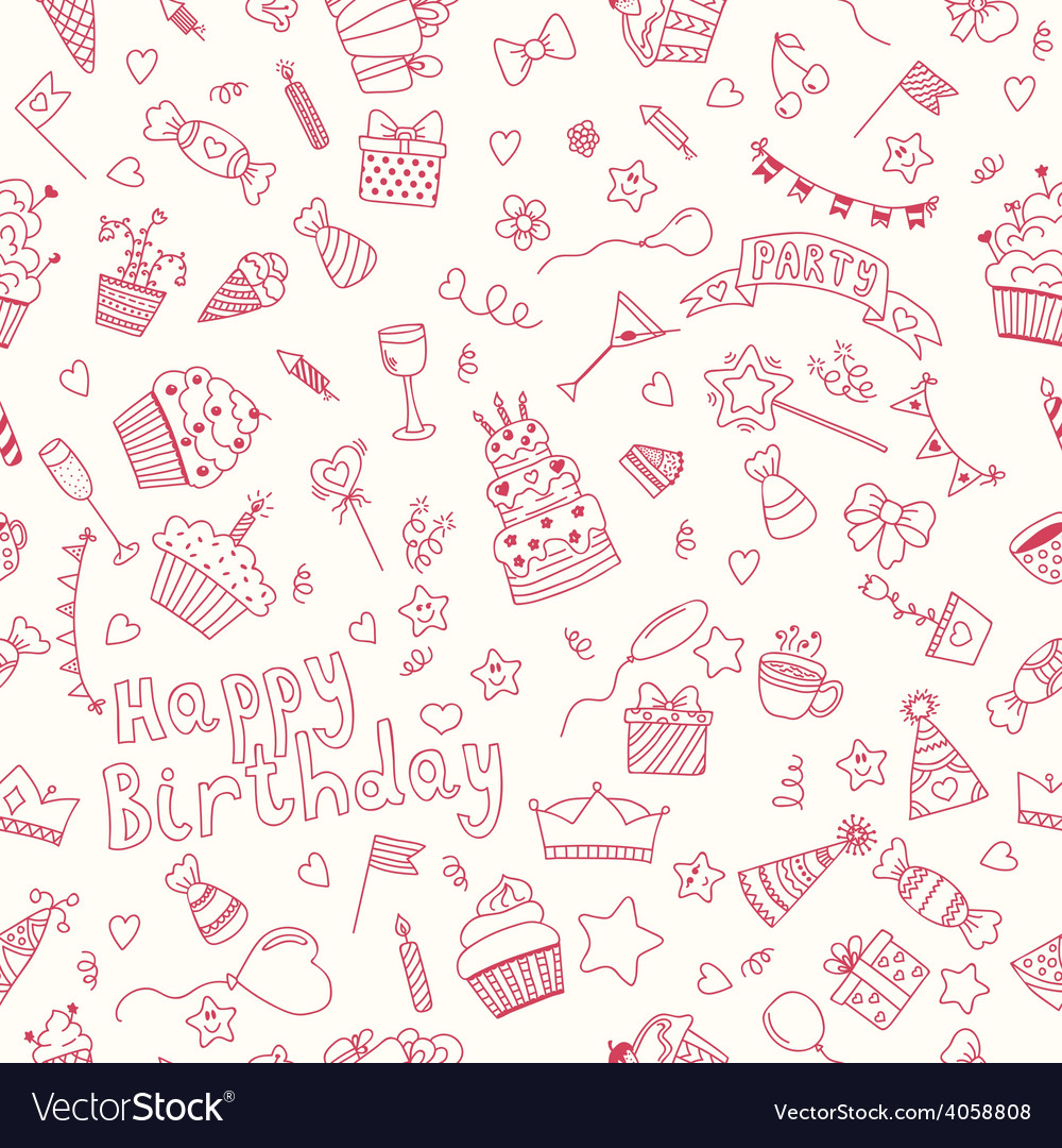 Seamless pattern with birthday elements birthday vector | Price: 1 Credit (USD $1)