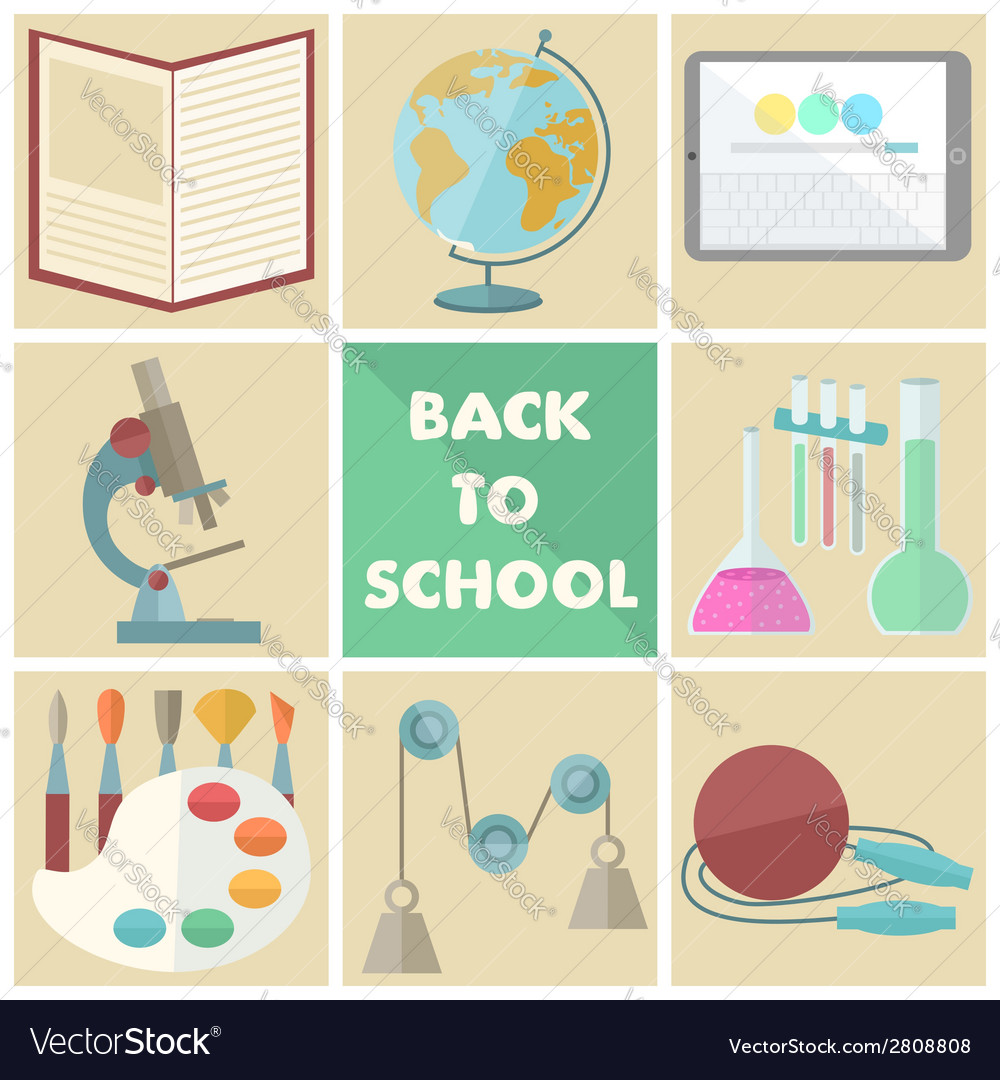 Set of nine school related flat icons vector | Price: 1 Credit (USD $1)