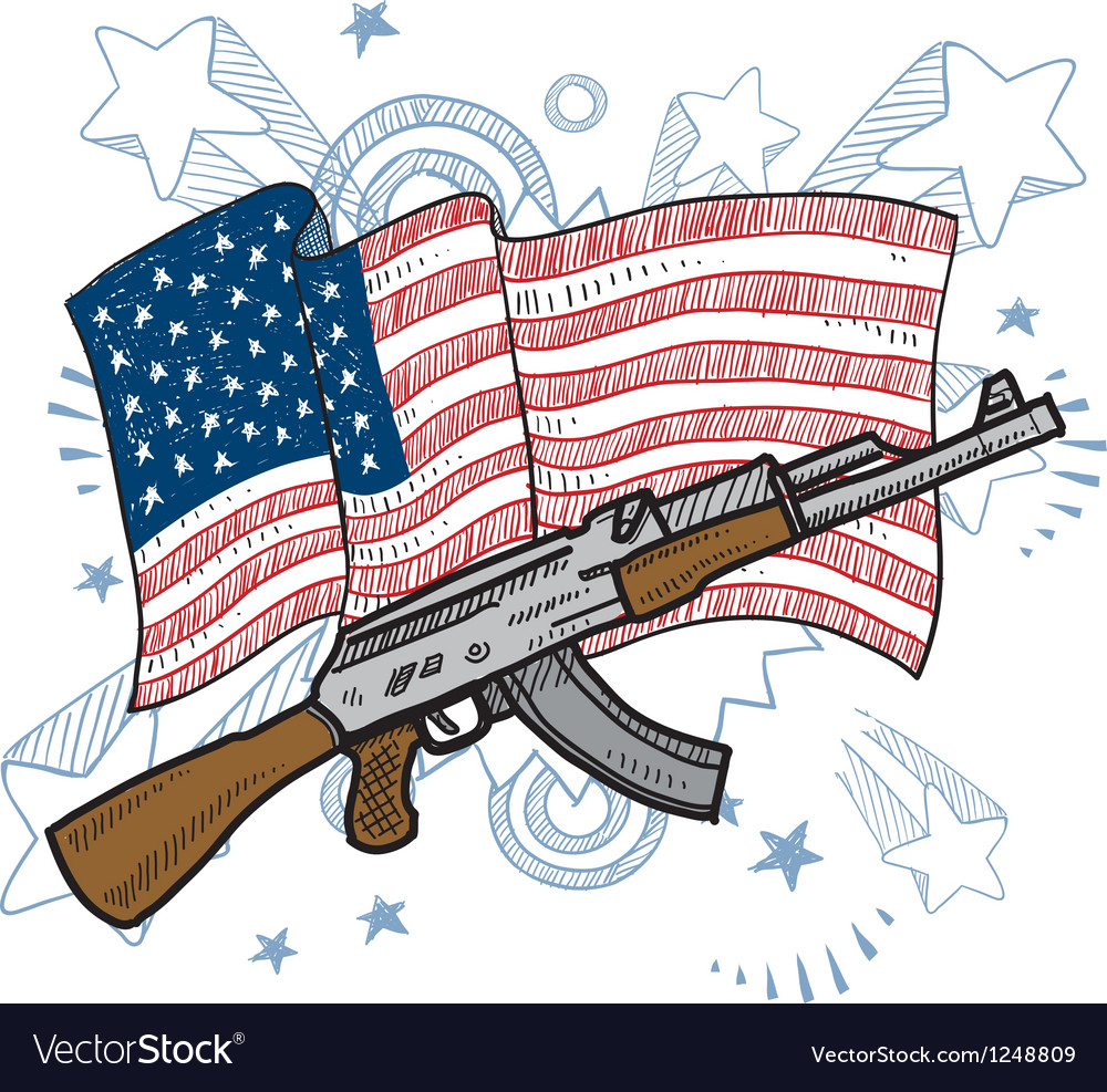 American flag and gun vector | Price: 1 Credit (USD $1)