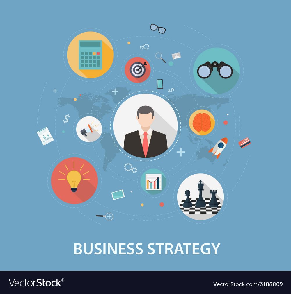 Business strategy on flat style design vector | Price: 1 Credit (USD $1)